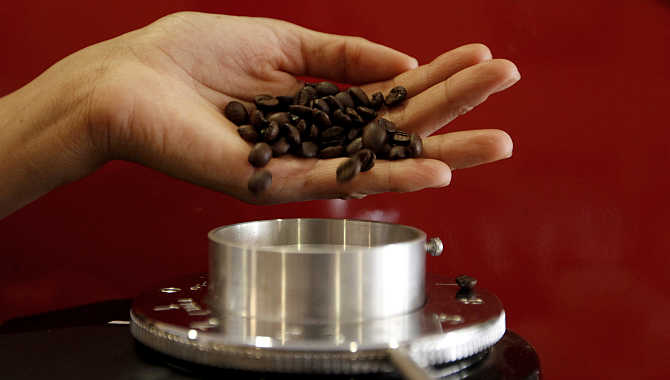 A waitress pours coffee beans into a grinder before she prepares an expresso at a coffee bar in Sao Paulo, Brazil. Havells manufactures domestic appliances among other products.