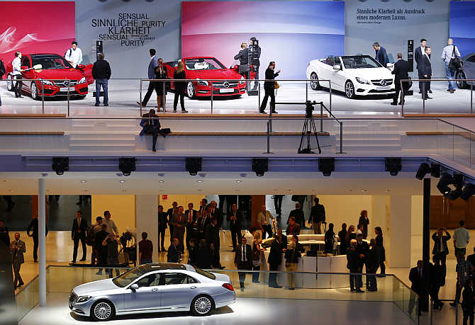Mercedes cars are pictured during a media preview day at the Frankfurt Motor Show in Germany.
