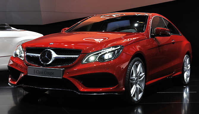 Mercedes Benz E Class Coupe on display in Detroit, Michigan.