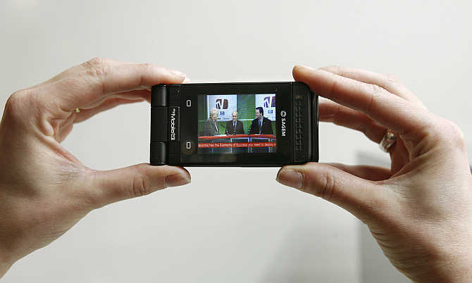 A mobile 'myMobileTV' by Sagem is displayed during the Mobile World Congress in Barcelona, Spain.