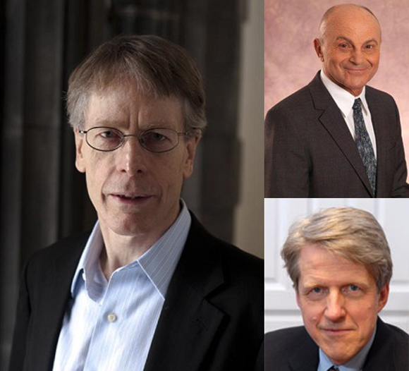 Lars Peter Hansen (L), Eugene Fama (top right), Robert Shiller.