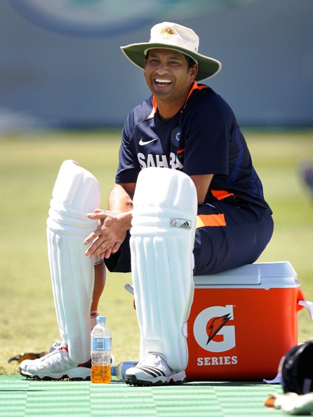 Sachin Tendulkar laughs during a practice session.