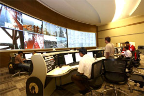 The control room of the Reliance Industries KG-D6 facility located in Andhra Pradesh. Photograph: Reuters