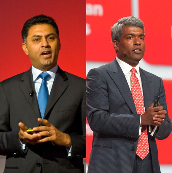 Nikesh Arora of Google (left) and Thomas Kurian of Oracle.