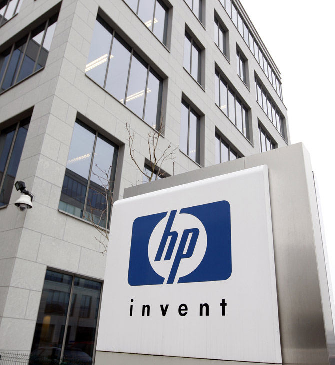 A logo of HP is seen outside Hewlett-Packard Belgian headquarters in Diegem, near Brussels.