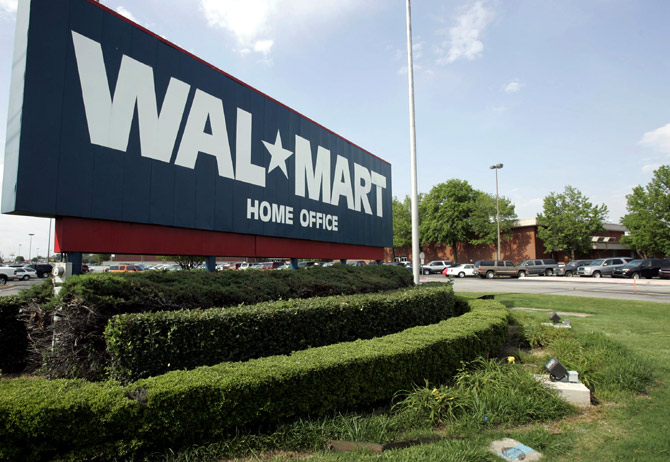 A sign marks Wal-Mart's headquarters in Bentonville.