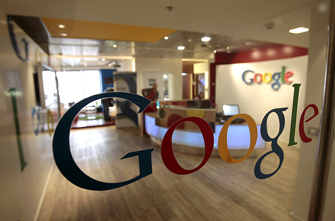 The Google logo is seen on a door at the company's office in Tel Aviv.