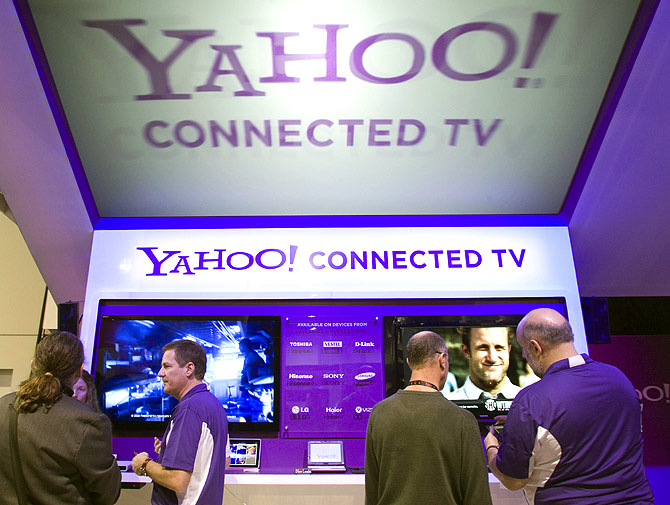 The Yahoo! Connected TV booth is shown during the 2011 International Consumer Electronics Show.
