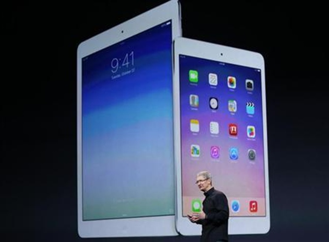 Apple Inc CEO Tim Cook speaks about the new iPad Air and the iPad mini with Retnia display during an Apple event in San Francisco, California.