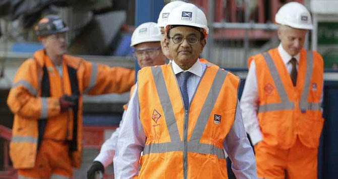 Finance Minister Palaniappan Chidambaram tours the Pudding Mill Lane Crossrail construction site in east London.