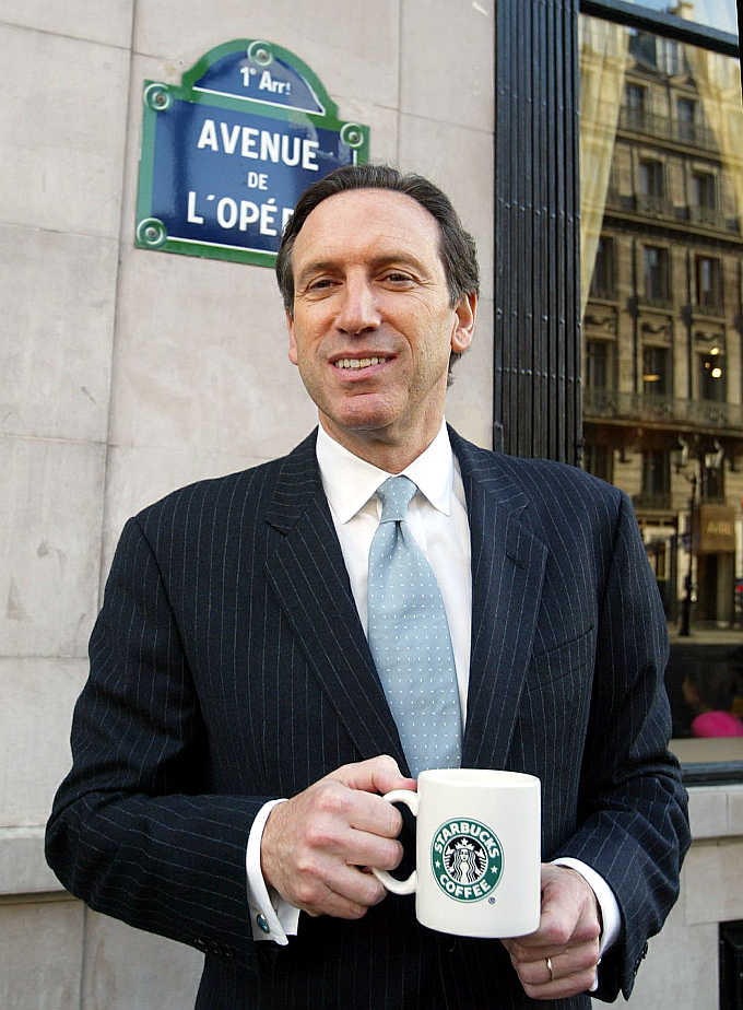 Starbucks's Howard Schultz in Paris, France.