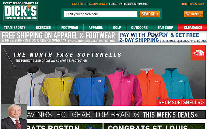 Homepage of Dick's Sporting Goods website. Inset, Edward Stack.