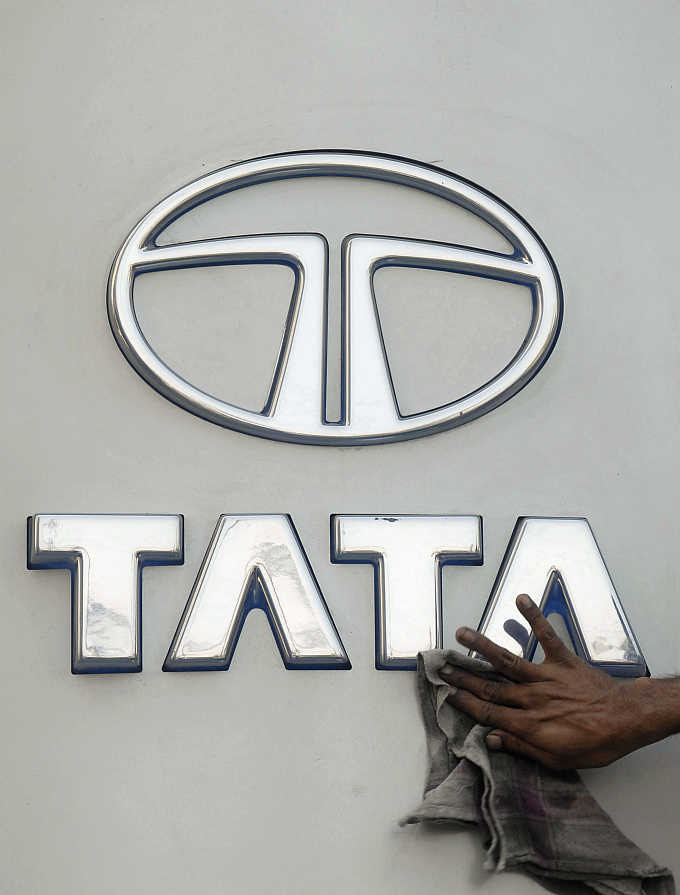 A Tata Motors logo outside its showroom in Hyderabad.