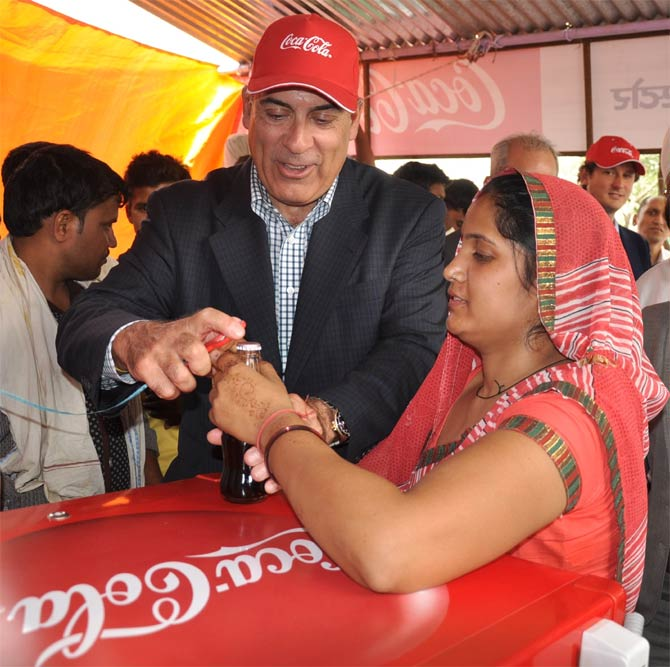 Muthar Kent, Chairman and Chief Executive Officer, Coca-Cola visits Agra.