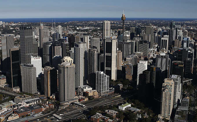 A view of the Central Business District on a sunny winter afternoon in Sydney, Australia.