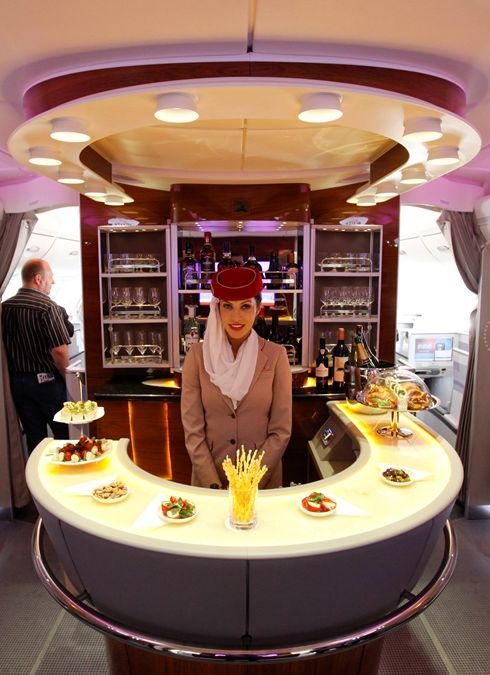 A bar in the first class section on board an Emirates Airbus A380 passenger plane.