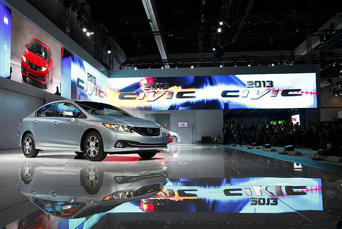 2013 Honda Civic Hybrid is unveiled at the Los Angeles Auto Show in California.