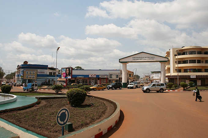 A view of a shopping district in capital Bangui, Central African Republic.
