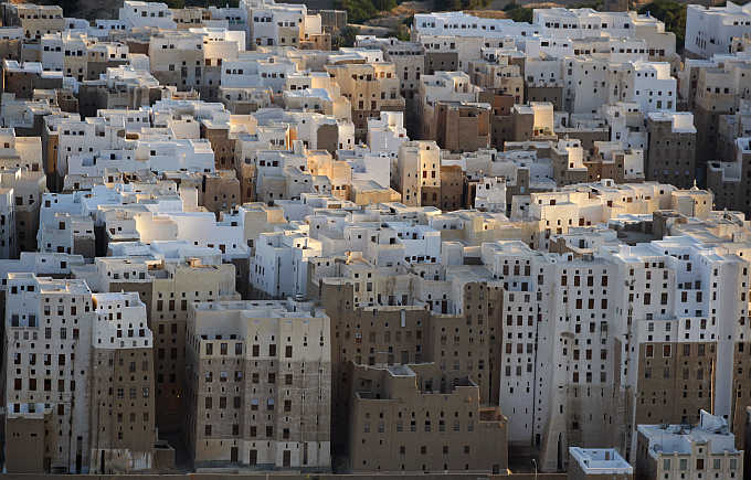 An aerial view of historical city of Shibam in southeastern Yemen.