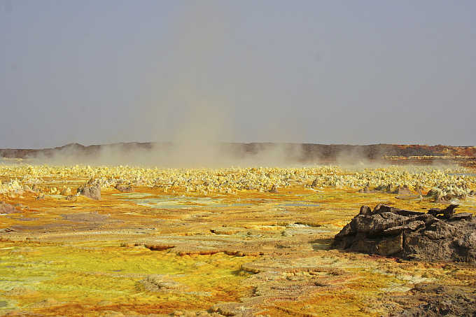 A view of a sulphur lake in Ethiopia's Danakil Depression. The Danakil is the lowest point in Africa and has the hottest annual average temperature on the planet.