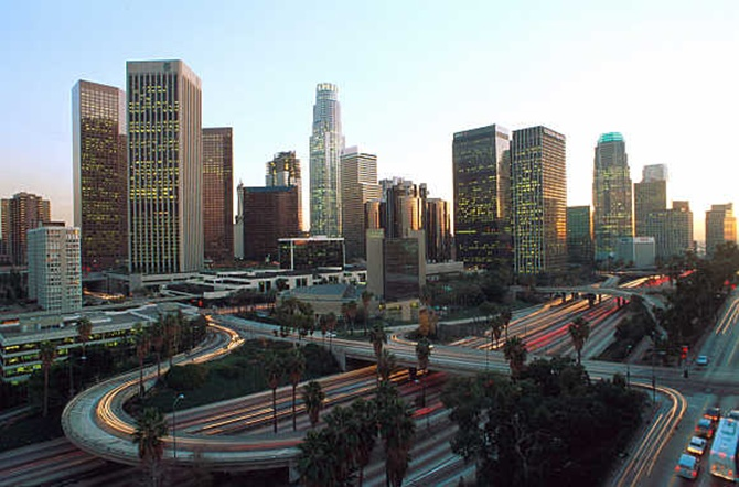 A view of downtown Los Angeles in the United States.