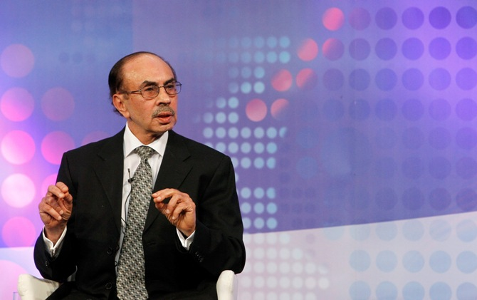 Adi Godrej speaks during a televised debate.
