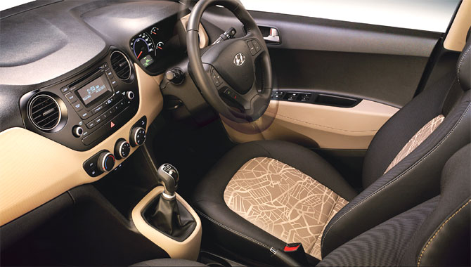 Interior view of Hyundai Grand i10.