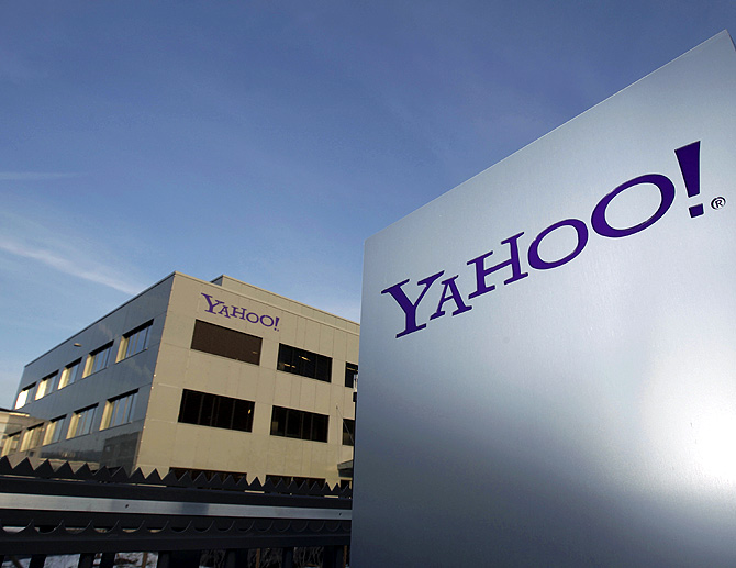 A Yahoo logo is pictured in front of a building in Rolle, 30 km (19 miles) east of Geneva.