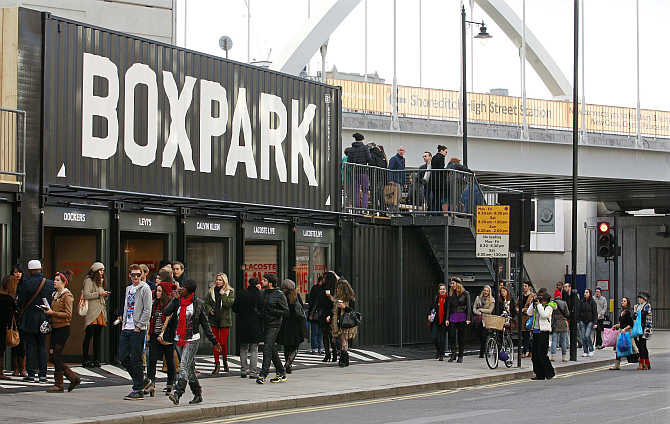 A view of Boxpark Shoreditch shopping mall in London, United Kingdom.