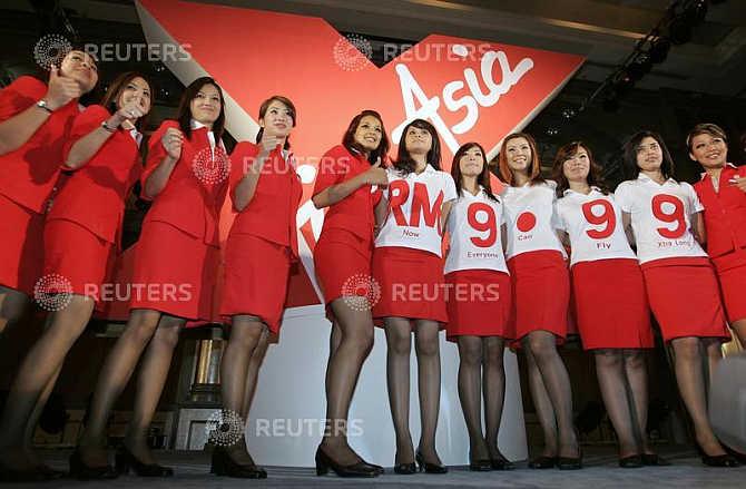 Budget carrier AirAsia's stewardesses in Kuala Lumpur, Malaysia.