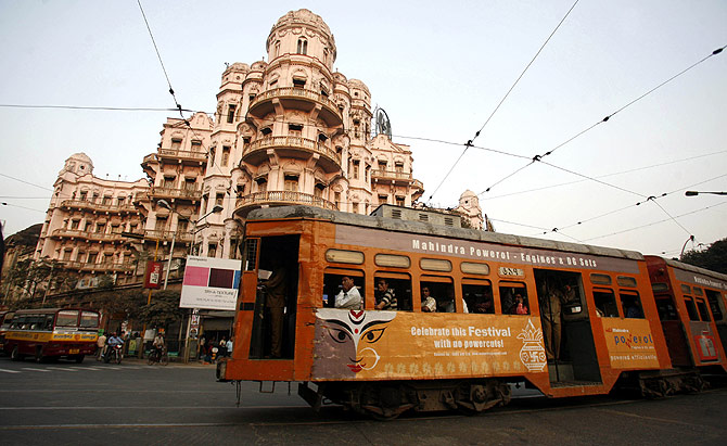 A tram runs on a road in the eastern Indian city of Kolkata.