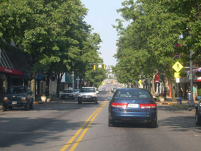 A view of State Street, which seperates the twin cities of Bristol Virginia and Bristol Tennessee.