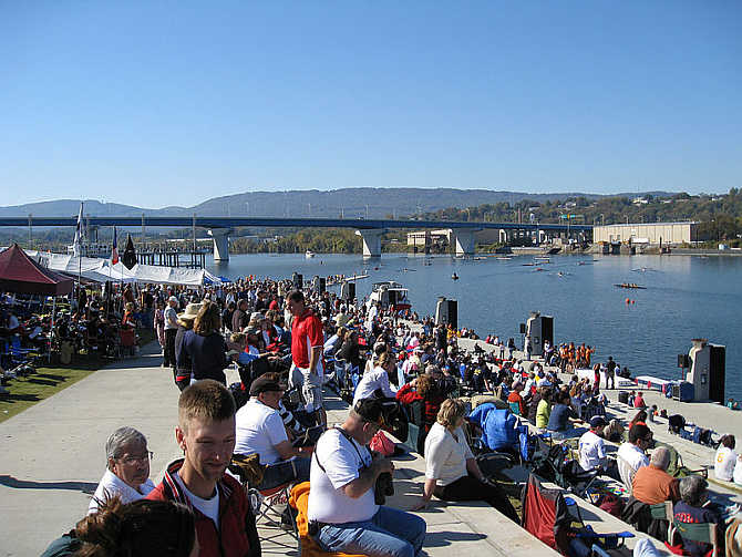 Overlooking the grandstand and finish area at the 2008 Head of the Hooch in Chattanooga, Tennessee.