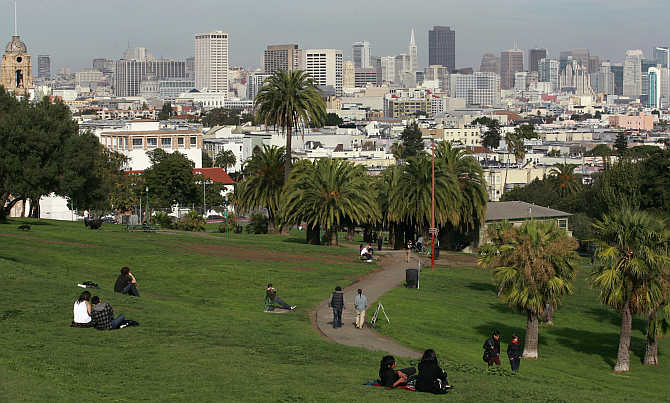 A view of the Dolores Park with the skyline of San Francisco, California, United States.