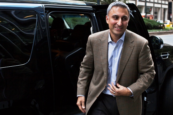 Mike Gupta, Twitter's chief financial officer, leaves JP Morgan headquarters after a meeting, before the firm's IPO in New York, October 25, 2013.