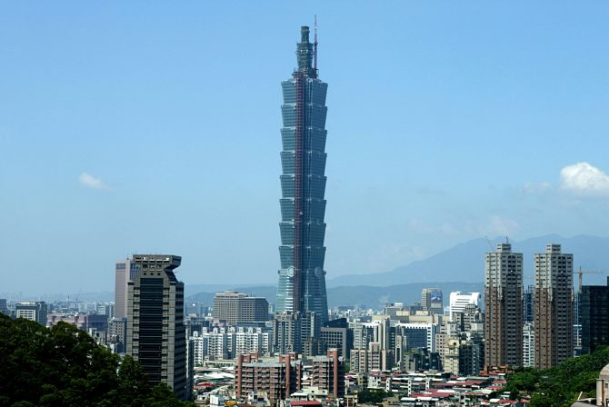 A new landmark, the Taipei 101, towers over Taipei's skyline.