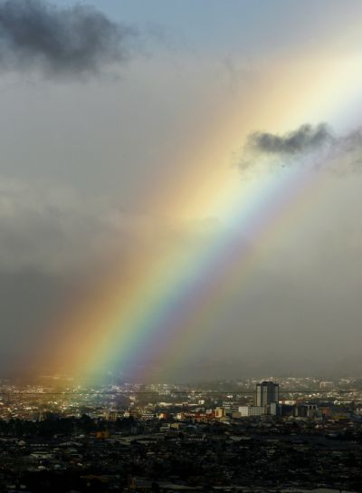 A view of rainbow over San Jose City.