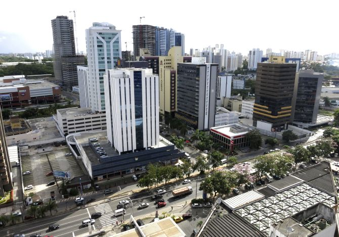 Buildings in the downtown core are seen in Salvador, Brazil.