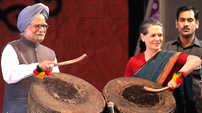 UPA chief Sonia Gandhi with Prime Minister Manmohan Singh.