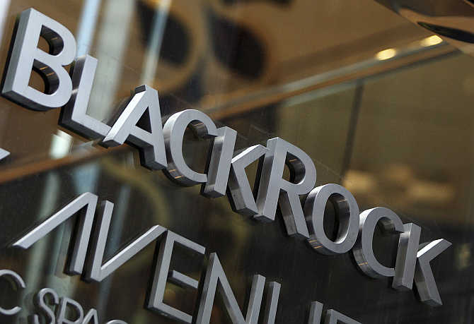 BlackRock logo outside of its offices in New York.