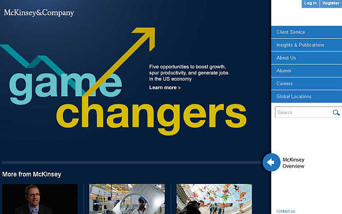 Homepage of McKinsey & Company.