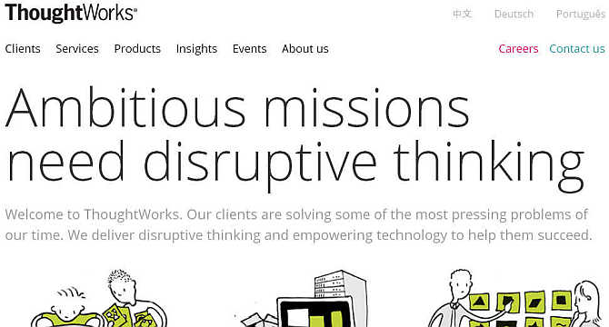 Homepage of ThoughtWorks.