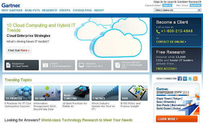 Homepage of Gartner.