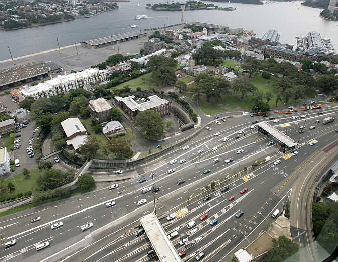 An expressway and wharves share a small patch of land near Darling Harbour in Sydney, Australia.