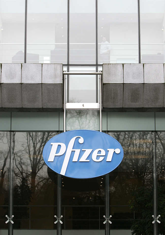 Belgian headquarters of US pharmaceutical giant Pfizer, in Brussels.