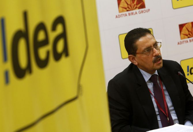 Idea Cellular's Managing Director Himanshu Kapania speaks during a news conference.