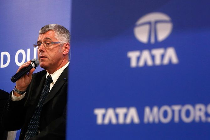 Karl Slym, managing director of Tata Motors, speaks during a news conference.