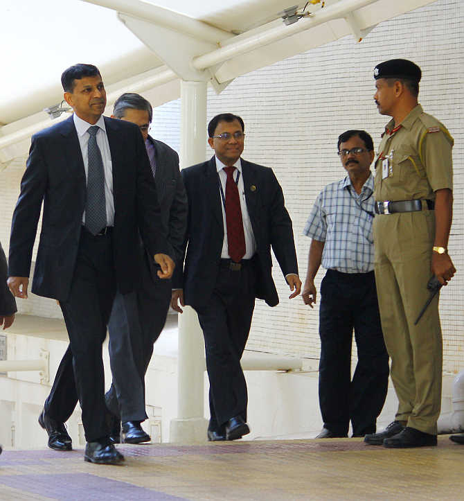Raghuram Rajan at the RBI headquarters in Mumbai.