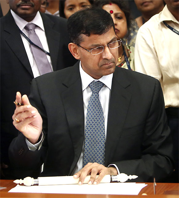 Raghuram Rajan at the RBI Headquarters.