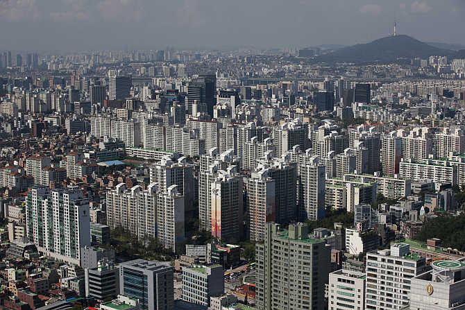 Part of Gangnam area is seen in Seoul, South Korea.